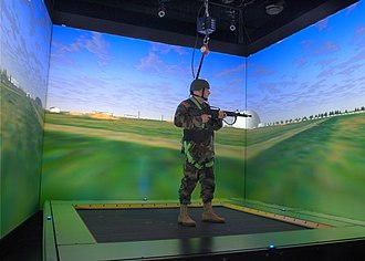 Omnidirectional treadmill - U.S. Army Research Lab's ODT with CAVE Graphics