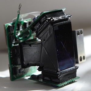 Three-CCD camera - A 3CCD imaging block consisting of a color separation prism of Philips type on which 3 CCDs are mounted.