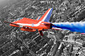 A Hawk T1A from the Red Arrows roars over London during a flypast for the Queen's 80th Birthday MOD 45147874.jpg