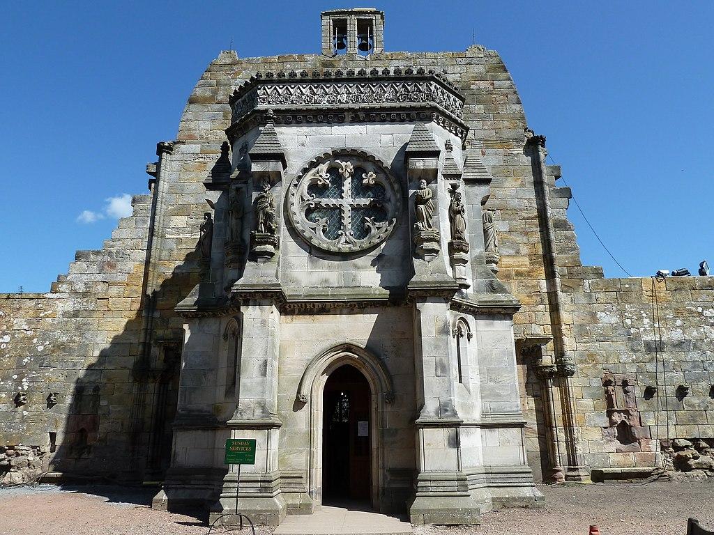 Entrée de la chapelle de Rosslyn en Ecosse près d'Edimbourg.