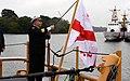 A Ship Captain raises Georgian Flag on a new patrol boat. Sept. 30, 2018.jpg