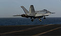 A U.S. Navy F-A-18E Super Hornet aircraft attached to Strike Fighter Squadron (VFA) 105 launches from the aircraft carrier USS Harry S. Truman (CVN 75) in the Gulf of Oman Dec. 17, 2013 131217-N-GR168-036.jpg