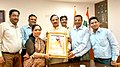 A delegation of 'Guru Ravidas Janmotsav Samiti, Delhi', presenting a portrait of Guru Ravidas to the Minister of State for Culture (Independent Charge), Tourism (Independent Charge) and Civil Aviation, Dr. Mahesh Sharma.jpg