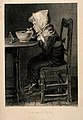A sick child grimaces as he takes his medication and gruel. Wellcome V0015140.jpg
