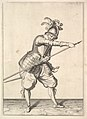 A soldier sliding his right hand along the training-pike, from the Lansquenets series, plate 22, in Wapenhandelinghe van Roers Musquetten Ende Spiessen (The Exercise of Arms) MET DP828802.jpg