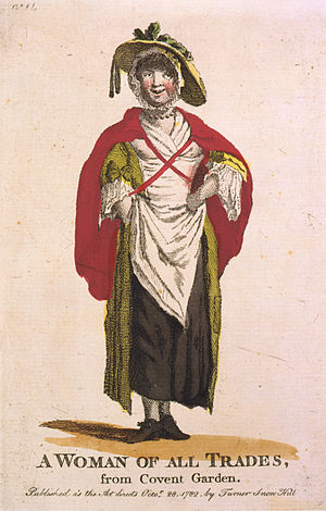 """Society for the Reformation of Manners - """"A woman of all trades from Covent Garden"""". The caption on this engraving is a euphemism for a prostitute"""