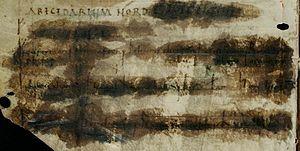 Abecedarium Nordmannicum - State of the abecedarium after the failed preservation attempt