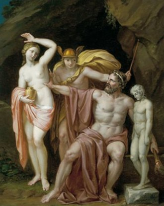 Pandora - Zeus readies Pandora with Hermes in attendance, a painting by Josef Abel