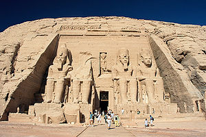 Hochtief - The façade of the greater temple at Abu Simbel, moved to escape the rising Nile. The cliff behind the temple is artificial, and was created to allow the temple to be moved to a higher location.