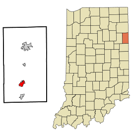 Adams County Indiana Incorporated and Unincorporated areas Berne Highlighted.svg