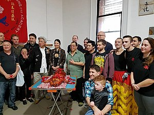 Jing Lee - Grandmaster Felix Leong's Rebirth from the ashes ceremony in Adelaide with Maurice Novoa Ruiz and State members for parliament Jing Lee and David Pisoni