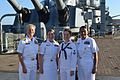Admiral Nora Tyson with the XO and CMDCM of USS Wayne E. Meyer, 2016.jpg