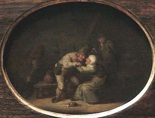A Couple Kissing in an Interior