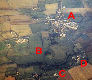 Skipsea Castle - Aerial photograph of Skipsea Castle from the west in 1979; A – village of Skipsea; B and C – castle motte and bailey; D – Skipsea Brough
