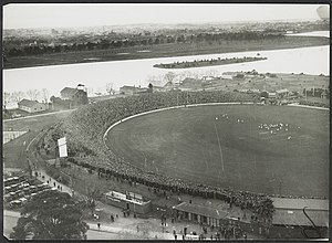 Lakeside Stadium - Aerial photo of the South Melbourne cricket ground with a football match in progress.