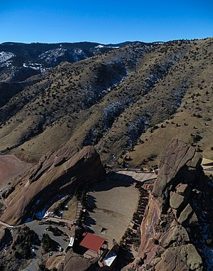 Red Rocks Amphitheatre - UAV Aerial view of Red Rocks Amphitheatre, January 2013