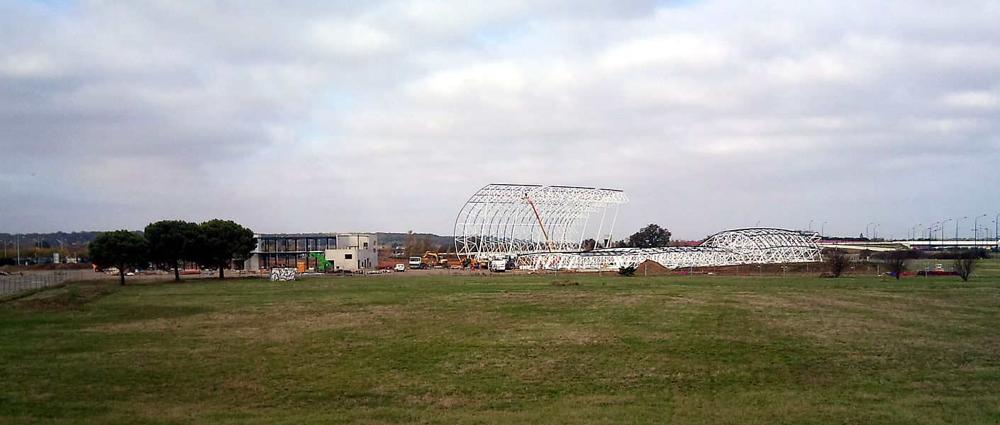 Construction of the buildings of the museum Aeroscopia in Blagnac (Haute-Garonne, France).