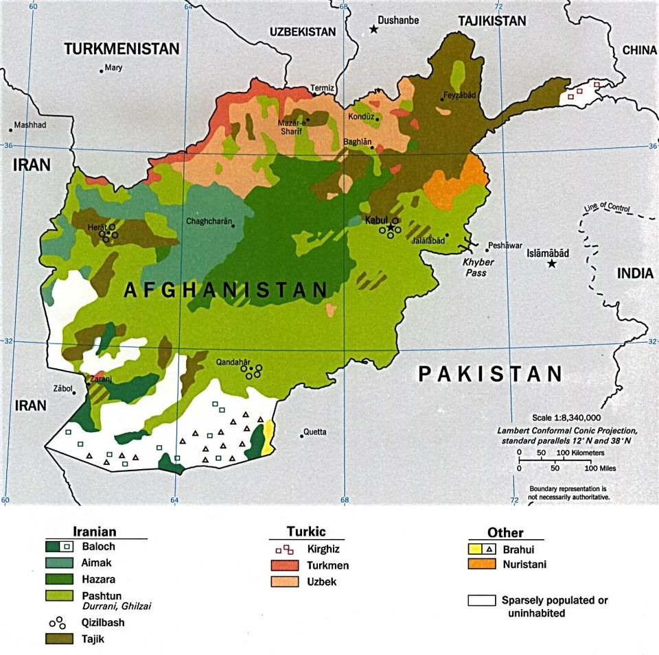 Ethnolinguistic groups of Afghanistan as of 1997 Afghanistan Ethnolinguistic Groups 1997.jpg