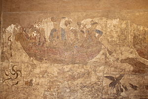 Afrasiab painting - Image: Afrasiab details from The Ambassadors' Painting 1 Northern wall. Chinese boat