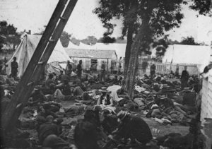 Battle of Savage's Station - Savage Station, Va. Field hospital after the battle. (Gibson, James F., photographer).