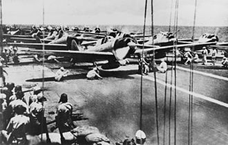 Battle of the Santa Cruz Islands - Japanese fighter and dive bomber aircraft on Shōkaku prepare to launch for an attack on U.S. carrier forces the morning of 26 October 1942.