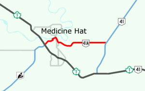 Alberta Highway 41 - Highway 41A in Medicine Hat, Alberta