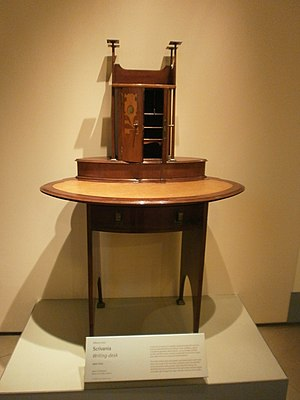 Antique Furniture & Wooden Sculpture Museum - Image: Alberto Issel Scrivania 1900 circa legno e madreperla Writing desk