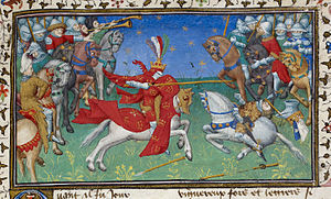 Roman d'Alexandre en prose - Alexander unhorsing Porrus, the King of India (BL Royal MS B xx, c. 1420)