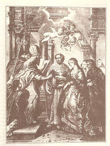 Свадьба царя Алексея Михайловича и Натальи Нарышкиной. Гравюра XVII века
