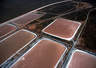 Carotene - Algae farm ponds in Whyalla, South Australia, used to produce β-carotene.