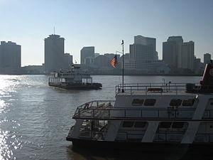 """Canal Street Ferry - Ferryboat """"Thomas Jefferson"""" approaches the Algiers side of the ferry route; Ferryboat """"Frank X. Arminger"""" seen at dock at right foreground."""