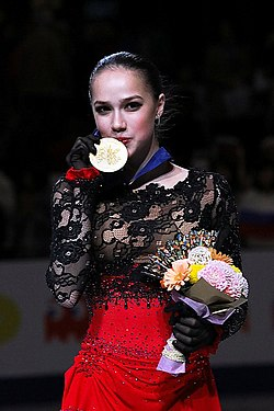 Alina Zagitova at the World Championships 2019 - Awarding ceremony 03.jpg