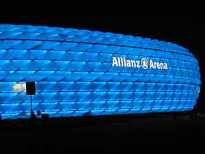 Illuminated exterior of the Allianz Arena