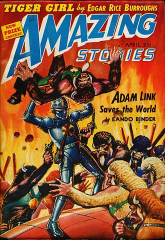Adam Link - Adam Link in cover of Amazing Stories, April 1942, art by Robert Fuqua
