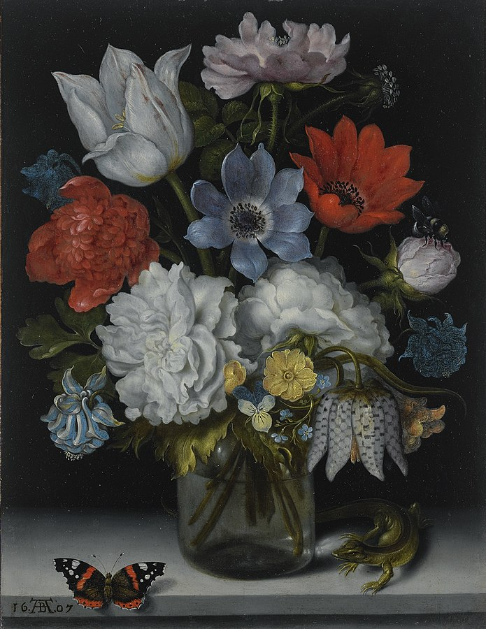 A Still Life of Flowers in a Glass Flask on a Marble Ledge, Flanked by a Red Admiral Butterfly and a Lizard