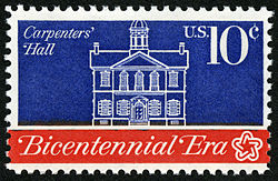 American Revolution Bicentennial Carpenters 'Hall 10c 1974 uitgave US stamp.jpg
