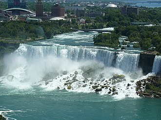 Niagara Falls, New York - View of city and American Falls from Niagara Falls, Ontario.