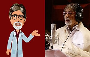 TeachAIDS - TeachAIDS character of Amitabh Bachchan (left); Bachchan in 2013 TeachAIDS recording session (right)