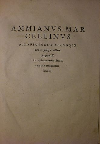 Ammianus Marcellinus - A copy of the Res Gestae from 1533