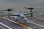 An MV-22B Osprey prepares to land on the flight deck of USS George Washington. (29503633944).jpg
