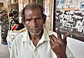 An old man voter showing mark of indelible ink after casting his vote, at a polling booth, during the Tripura Assembly Election, in Pratapgarh, Agartala on February 18, 2018.jpg