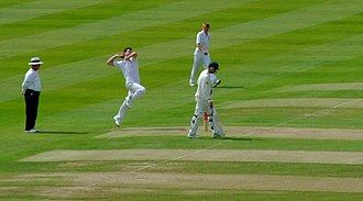 James Anderson (cricketer) - Anderson bowling at Edgbaston during the 2009 Ashes