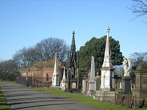 Anfield Cemetery - General view with one of the catacombs in the background