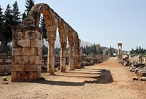 The cardo of the Umayyad city of Anjar