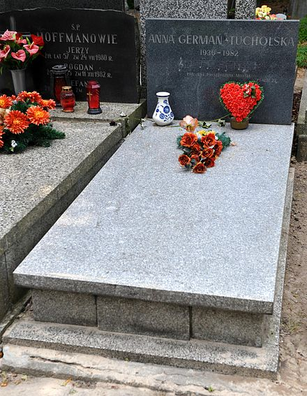 Anna German grave in Protestant Reformed Cemetery in Warsaw Anna German Grave.JPG