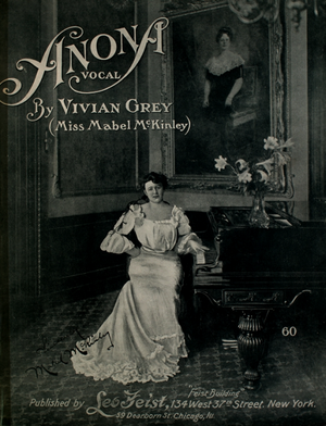 Anona (song) - Cover of vocal version with photo of Miss Mabel McKinley.