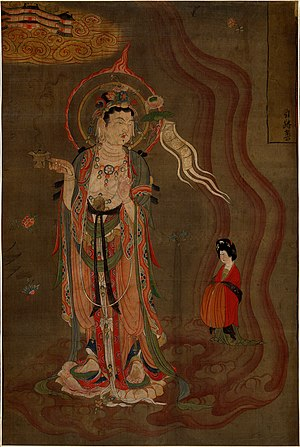 Mogao Caves - Bodhisattva leading a lady donor towards the Pure Lands. Painting on silk (Library Cave), Late Tang.