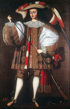 Arcángel Eliel con arcabús , pintura anónima ( circa 1690 - 1720 )