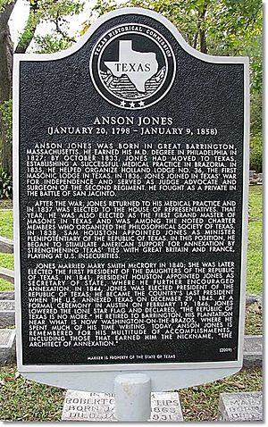 Anson Jones - Texas Historical Commission marker located in Glenwood Cemetery (Houston, Texas) commemorating the many important contributions made by Anson Jones to the history of Texas.