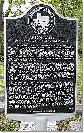 Anson Jones - Texas Historical Commission marker located in Glenwood Cemetery (Houston, Texas) commemorating the many important contributions made by Anson Jones to the history of Texas